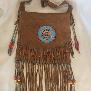 Native American Style Beaded Fringe Leather Bag